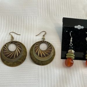 2 Pairs of Earrings - greens and oranges